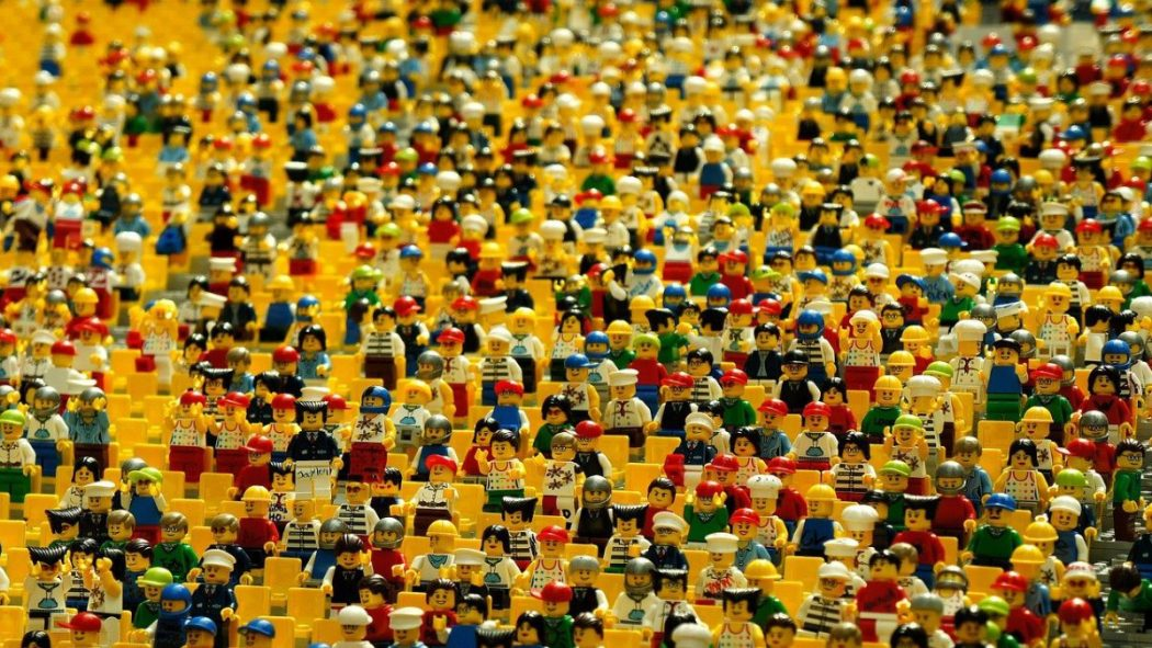 A crowd of hundreds of lego figures