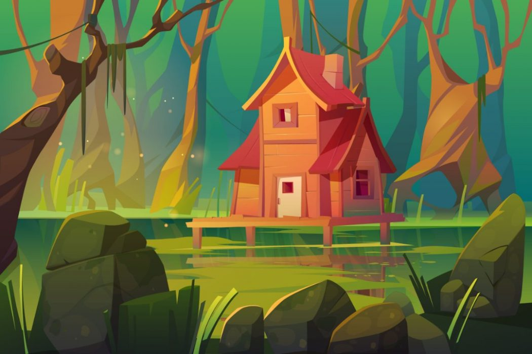 A house in a swamp on stilts