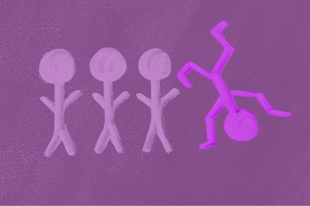 Four stick figures with one doing a cartwheel