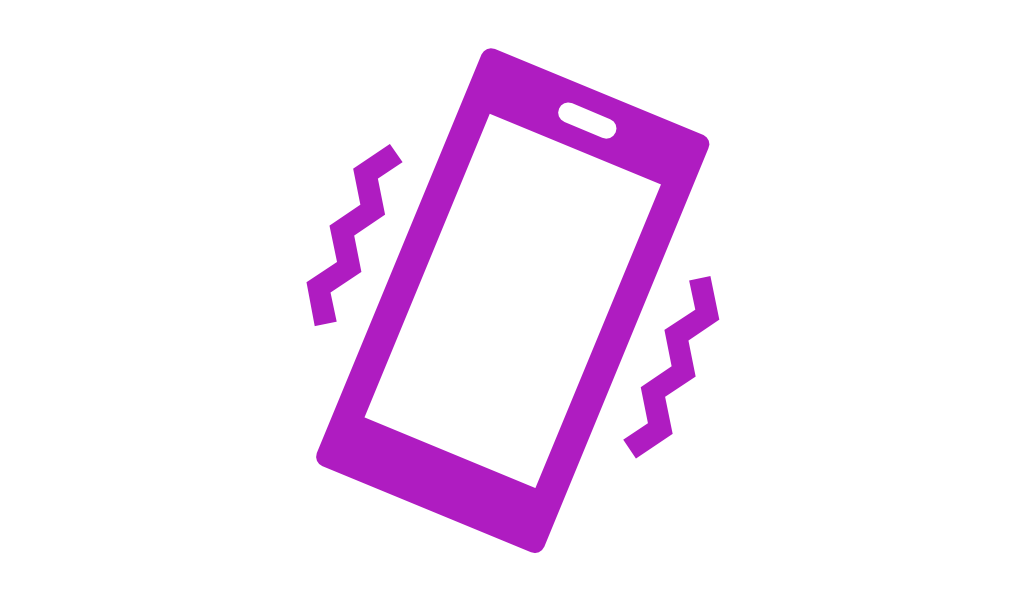 an icon of a vibrating mobile phone